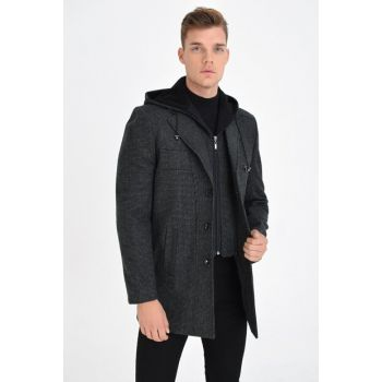 MEN SMOKING Wool Blended Pattern Stamp Removable Hooded Front Zipper And Button Coat 9230