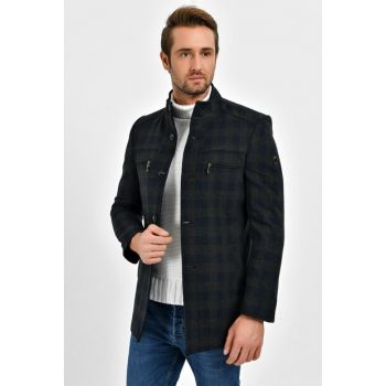 MEN SQUARE Navy Blue Stitched Wool Blended Patterned Stamp Coat 9200