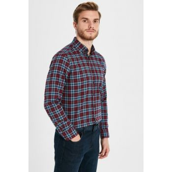 Men's Burgundy Plaid Shirt 9W2903Z8