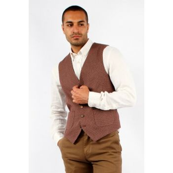 Burgundy Dobby Men's Vest - Slim Fit DU1192212IA01