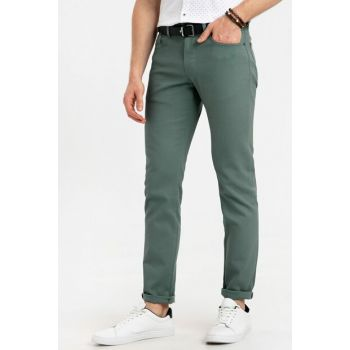Men's Hazy Green Textured Trousers 9S1562Z8