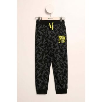 Black Young Boys Elastic Waisted Dinosaur Patterned Slim Fit Jogger Pants K2812A6.19SP.BK27