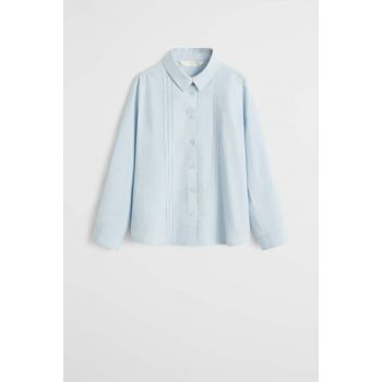 Sky Blue Girls' Trimmed Cotton Shirt 53070772