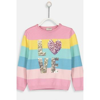 Girl's Pink Striped Lhk Sweater 9W5016Z4
