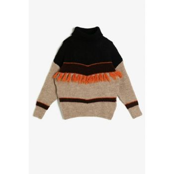 Coffee Girl Child Embroidered Sweater 0KKG97469HT