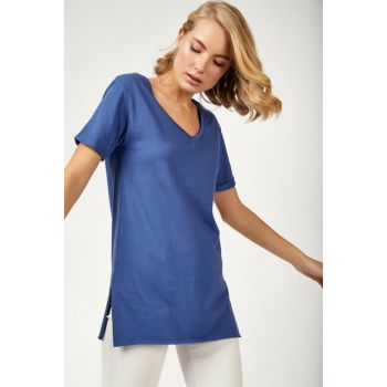 Women's Indigo V-Neck Sides Slit Cotton T-shirt CR00264