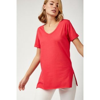 Women's Pink V-Neck Side Slits Cotton T-shirt CR00264