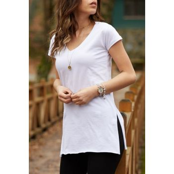 Women's White V Neck Basic Slit T-Shirt 9KXK1-42903-01