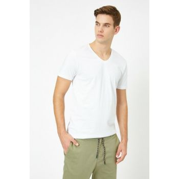 Men's White V Neck T-Shirt 0YAM12138LK