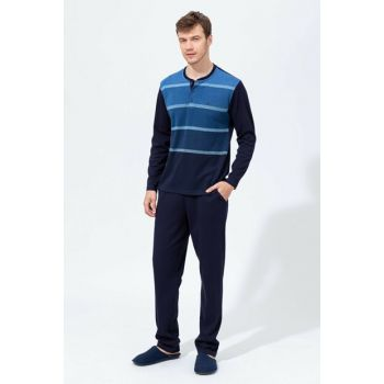 Men's Navy Blue Thessaloniki O Patterned Six Interlock Long Sleeve Pajamas Set E0218K0047