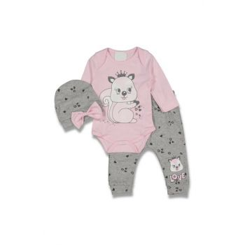 Light Pink Squirrel Hearted Baby Girl 3 Pcs Set AF90292