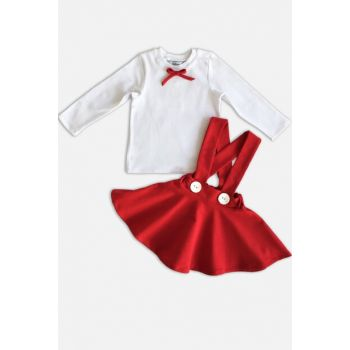 Red Straped Skirt Long Sleeve Body Suit / 0-3 MONTH TKM-0018