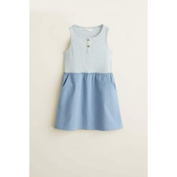 Sky Blue Girl's Striped Contrast Dress 53070691