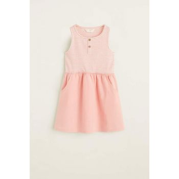 Pink Girls' Striped Contrast Dress Dress 53070691