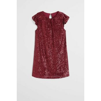 Maroon Girls Ruffle Sequined Dress 57029211