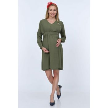 Gör & Sin Button Detailed Double Breasted Maternity Dress Khaki 8591Y