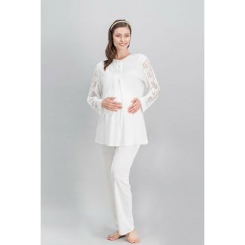 Chic Mommy Ecru Women's Lohusa Pajama Set AR-495-S
