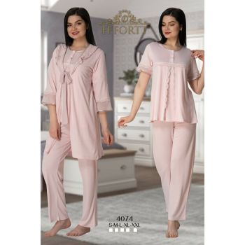 Effortt 4074 Powder Pink Blue Handles Flywheel Dressing Gown Lohusa Pajamas Set TXB3C9AB9D923