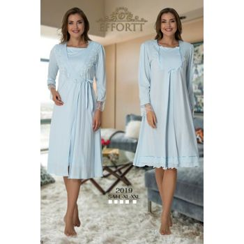 Effortt 2019 Blue Lace Dressing Gown Lohusa Nightgown Set TXB3C9AB9D1445