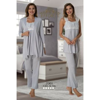 Effortt 2301 Gray Dressing Gown Lohusa Pajama Set TXB3C9AB9D1468