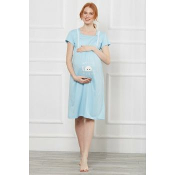 Women's Blue Puerpera and Maternity Nightgown OBJE6223