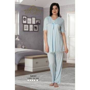 Effortt 5032 Lace Collar Lohusa Sleepwear Set TXB3C9AB9D866