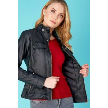 Women's Faux Leather Zipper Black Jacket 20KGB1499127462