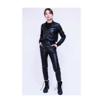 Black leather look bomber jacket VNB31