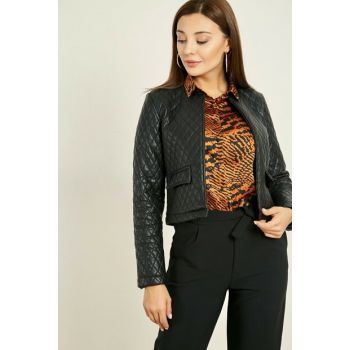 Quilted Leather Jacket - Black - 20KCE139K249