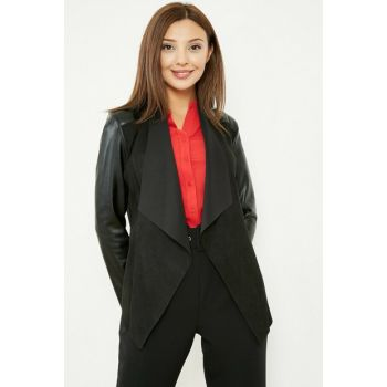 Shawl Collar Sleeve Leather Suede Jacket - Black 20KCE139K143