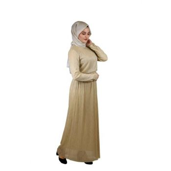 Hijab Sequined Evening Dress Gold SYR05300