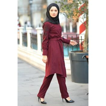 Women's Burgundy Embroidered Velvet Suit TSD9633