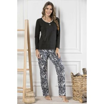 Women's Patterned Cotton Lycra Pajama Set 19221746