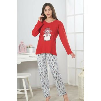 Women's Red Interlock Pajama Set 19301