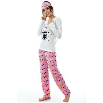 Women's Pink Long Sleeve Patterned Eye Banded Pajama Set 4193