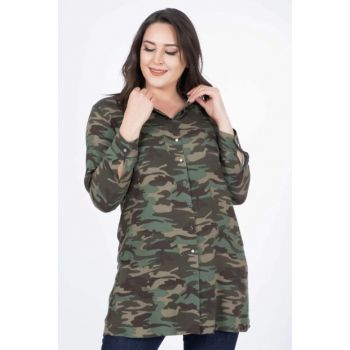 Women's Dark Green Camouflage Patterned Shirt 34441