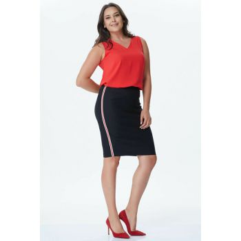 Women's Black Sides Stripe Skirt 24070
