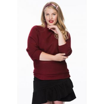 Women Burgundy Bat Sleeve Sweater Blouse MTK0059