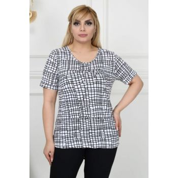Women's Black White Printed Viscose T-Shirt ST0008