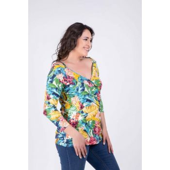 Women Multicolor Shoulder Framed Color Blouse 34405