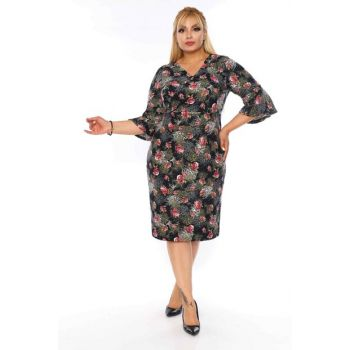 Women's Black Double Breasted Floral Dress 21C-0738 10738-21C
