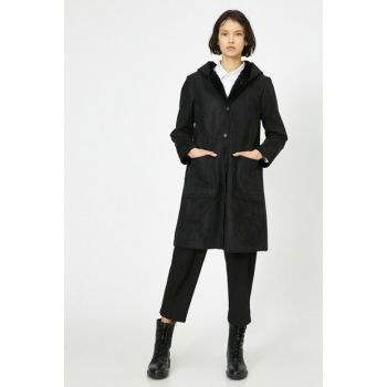 Women's Black Hooded Coat 0KAK06649EW