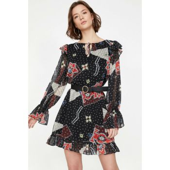 Women's Black Printed Dress 9KAF80610FW
