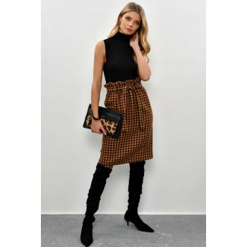 Women's Camel-Black Crowbar Belt Skirt KN23
