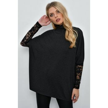 Women's Anthracite Sleeves Lace Loose Blouse M1946
