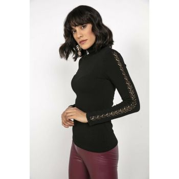 Women's Wool Strawberry Turtleneck Handle Ruched Blouse Black S-20K1150006