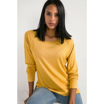 Women Mustard Reglan Sleeve Strawberry Lycra Blouse S-20K2220020