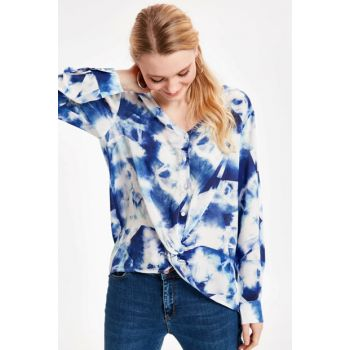 Women's Navy Blue Patterned Blouse 9SL329Z8