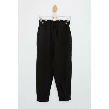 Women's Black Slim Fit Trousers, Pants M4877AZ.19HS.BK23
