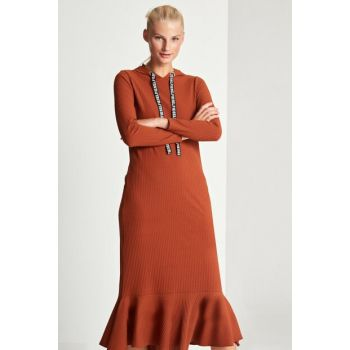 Women's Brown Hoodie Dress 50170